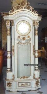 jam hias kayu jati putih murah