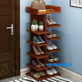 Rak Sepatu 6 Tundan Jati Murah Meriah