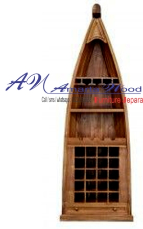 Rak Botol Minuman Model Perahu Jati