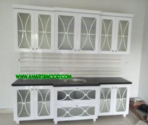 Kitchen Set Kayu Jati Mewah Minimalis Pintu Kaca