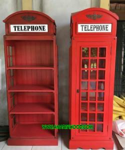Cabinet Telepone Merah Kayu Jati Murah