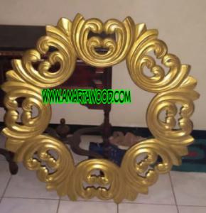 cermin kayu jati emas mewah
