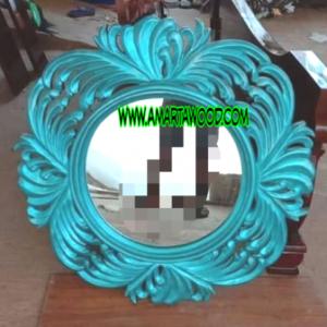 Cermin Finishing Biru Mewah Ukiran