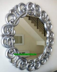 Cermin Kayu Jati Ukiran Desain Bagus