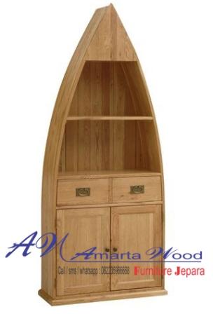 rak kayu perahu jati minimalis