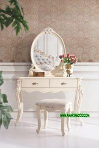 Meja Rias Luxury Mewah Cermin Ukir Putih