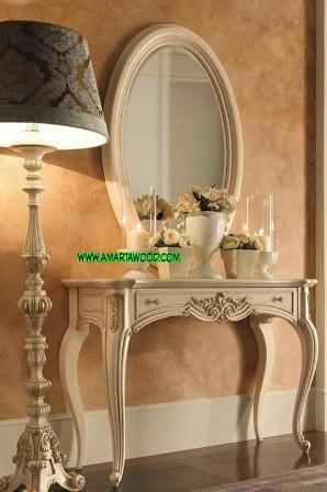 Meja Rias Cermin Oval Vintage Ukir