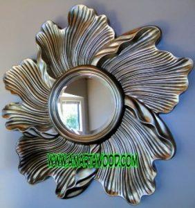 cermin ombak kayu mewah murah