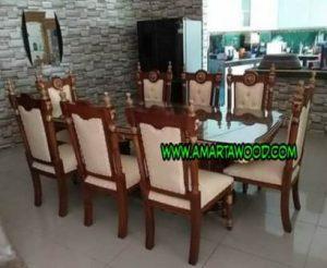 meja makan kayu jati laku set murah