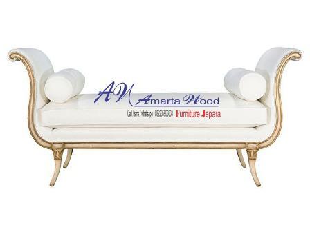 sofa panjang kayu jati warna putih murah