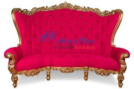 Sofa Ukiran Mewah Jok Merah Kayu Baru