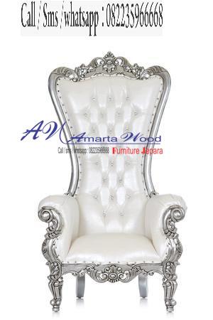 Sofa Ukir Mewah Kayu Desain Baru Putih