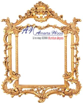 Cermin Dinding Datar Ukir Kayu
