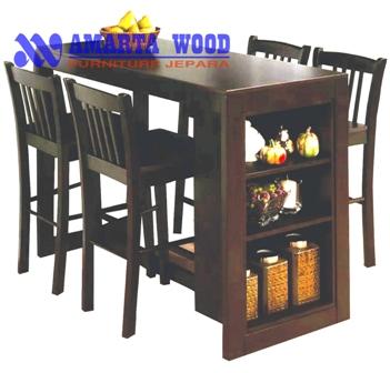 Meja Makan Jati Desain Bar kecil