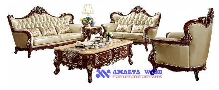 Sofa Set Ukir Mewah Melamin Natural