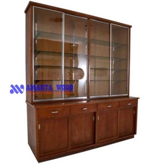 Cabinet Minimalis Kayu Jati Pintu Kaca