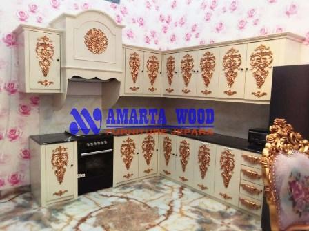 Kitchen Set Permeter Kayu Jati Minimalis Ukir