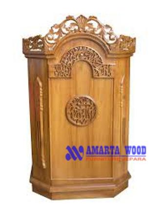 Mimbar Podium Kayu Jati Ukir Finishing Emas