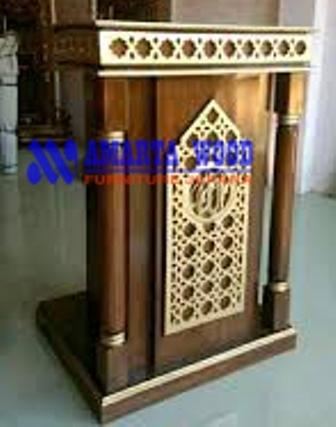Mimbar Podium Kayu Jati Minimalis Ukir Islam