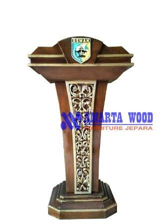 Podium Mimbar Kayu Jati Ukir Minimalis