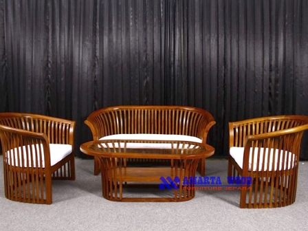Sofa Kursi Minimalis Slat Jati Unik Mewah