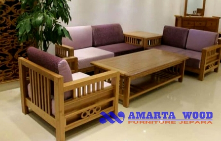 Sofa Minimalis Set Mewah Rangka Kayu Murah