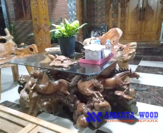 Meja Tamu Ukir kayu Jati Kuda Mewah