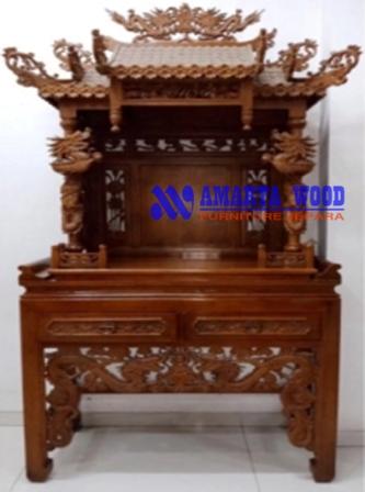 Altar Mewah Kayu Jati Ukir Naga Murah