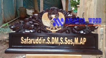 Papan Nama Motif Ukir Garuda Kayu Jati